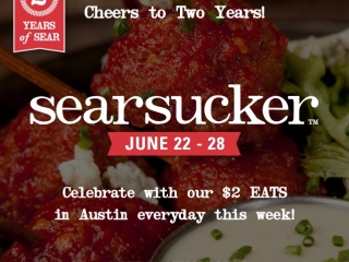 In honor of our TWO year anniversary in Austin, we're throwing a week-long celebration from June 22-28 at #SearsuckerATX with a selection of $2 EaTs & cocktails! (It only made sense, right?) ‪#‎KeepAustinSeared‬  More details: Bit.ly/KeepAustinSeared