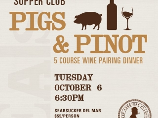 Make your reservation for our PiGS & PiNOT 5-course wine paring dinner exclusively at Searsucker Del Mar! #SearsupperClub #DelMar #WineDinner #WineEvents #DinnerPairing #Searsucker